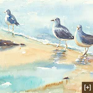 Gulls on the Shore - Watercolor on paper