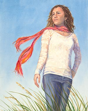 Watercolor painting - Braving the Wind